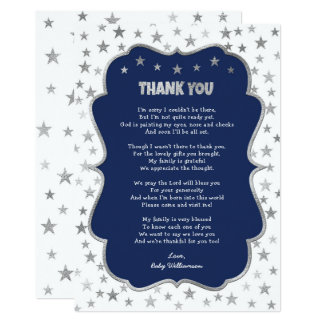 Twinkle silver stars navy boy thank you note card