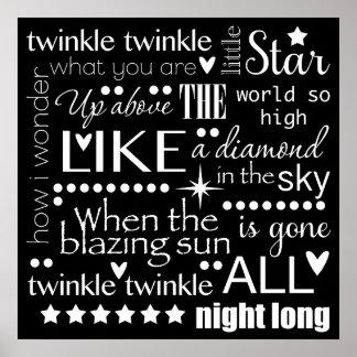 Twinkle Twinkle Little Star Word Art Poster