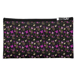 Twinkling pink flowers suede cosmetic bag