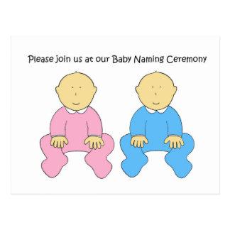 Twins baby naming ceremony invitation. postcard