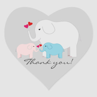 Twins Boy and Girl Elephant Thank You Stickers