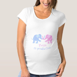 """Twins in Production"" Blue and Pink Baby Elephants Maternity T-Shirt"
