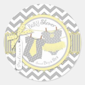 Twins Tie Tutu Chevron Baby Shower Round Sticker
