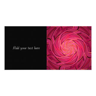 Twirly Pink Abstract Art Customized Photo Card