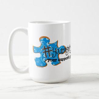 Twitter ASD Parent Mug Blue Floral Puzzle Piece
