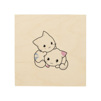 Two adorable baby kittens cuddle together wood prints