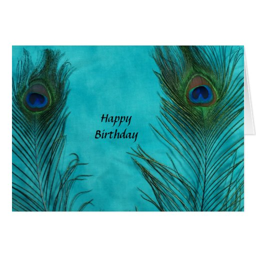 Two Aqua Peacock Feathers Cards