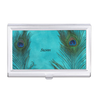 Two Aqua Peacock Feathers Case For Business Cards