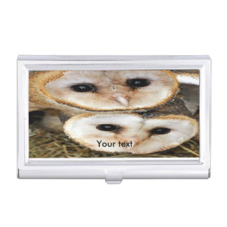 Two Baby barn owls cuddling each other Business Card Holder