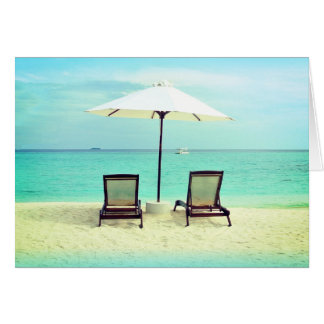 Two Beach Chairs Paradise Blank Folded Note Cards