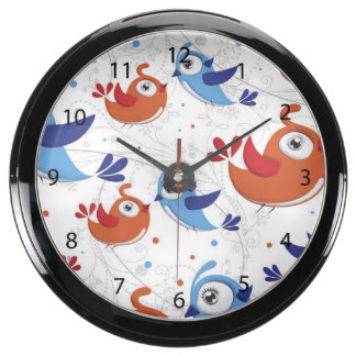 Two Bird Lovers Orange and Blue  Pattern Fish Tank Clock