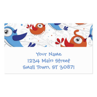 Two Bird Lovers Orange and Blue  Pattern Pack Of Standard Business Cards