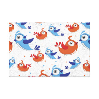 Two Bird Lovers Orange and Blue  Pattern Canvas Print