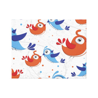 Two Bird Lovers Orange and Blue  Pattern Canvas Prints