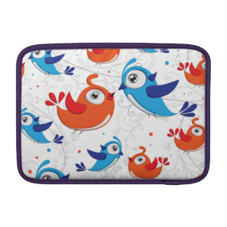 Two Bird Lovers Orange and Blue  Pattern Sleeve For MacBook Air