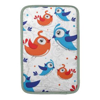 Two Bird Lovers Orange and Blue  Pattern MacBook Sleeves