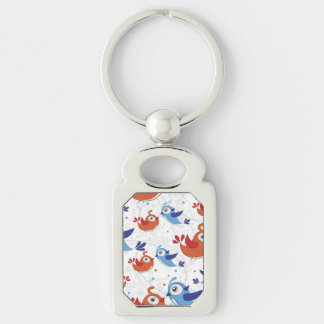 Two Bird Lovers Orange and Blue  Pattern Silver-Colored Rectangle Keychain