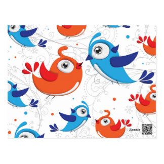 Two Bird Lovers Orange and Blue  Pattern Postcard