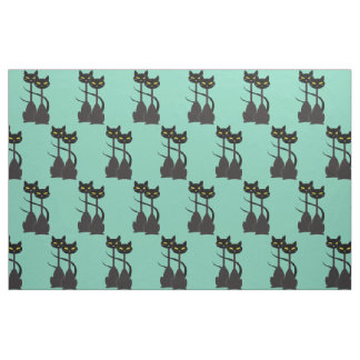 Two Black Cats with Long Necks Fabric