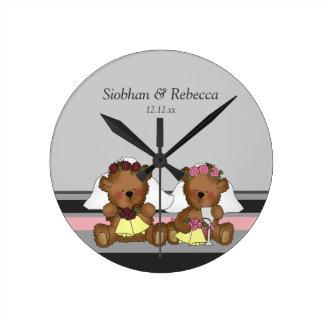 Two Bride Teddy Bears Wall Clock