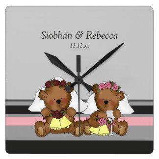Two Bride Teddy Bears Wall Clocks