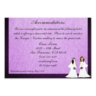 Two Brides Lesbian Wedding Accommodations Cards