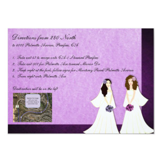 Two Brides Lesbian Wedding Driving Directions Card