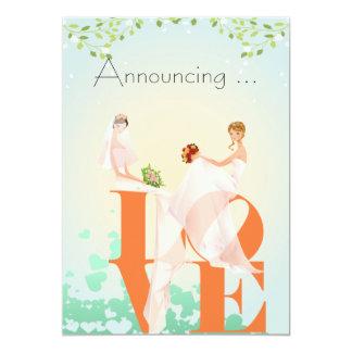 "Two Brides LOVE  Wedding Annoucement 5"" X 7"" Invitation Card"