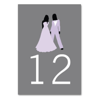Two Brides Table Number Wedding (Lilac And Grey) Table Cards