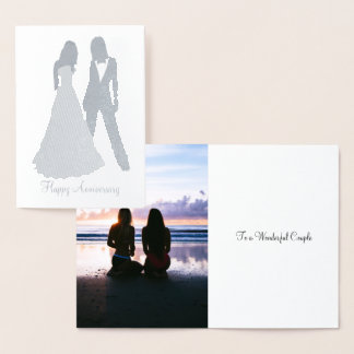 Two Brides Wedding Suit and Dress Foil Card