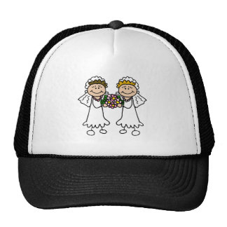 Two Brides with Flowers Cap