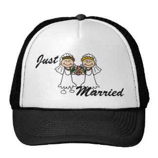 Two Brides with Flowers Trucker Hats