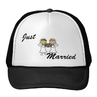Two Brides with Flowers - Interracial Asian Trucker Hats