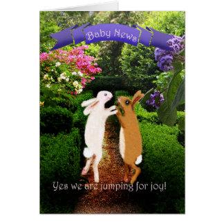 Two bunnies , preganncy announcement, humor card