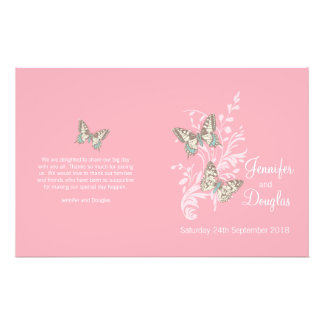 Two butterflies pink graphic Wedding Programme