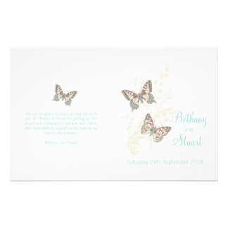 Two butterflies teal graphic Wedding Programme
