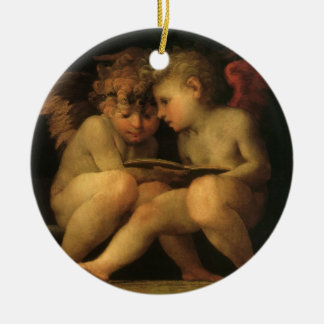 Two Cherubs Reading by Rosso Fiorentino Christmas Ornament