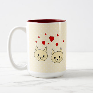 Two Cute Amber Color Cats with Red Hearts. Coffee Mug