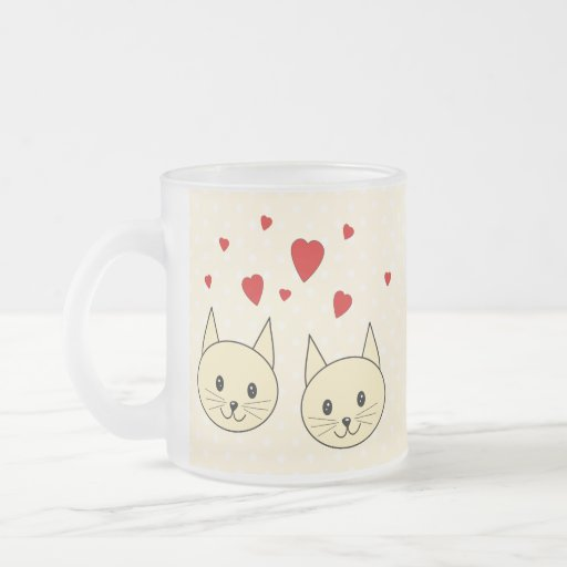 Two Cute Amber Color Cats with Red Hearts. Mug