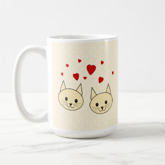 Two Cute Amber Color Cats with Red Hearts. Classic White Coffee Mug
