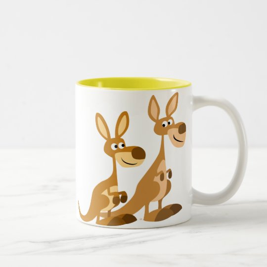 Two Cute Cartoon Kangaroos Mug