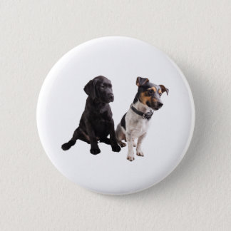 two cute dogs 6 cm round badge