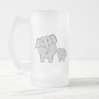 Two Cute Elephants. Cartoon. Frosted Glass Mug