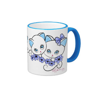 Two cute Kittens with Daisies Blue Coffee Mugs