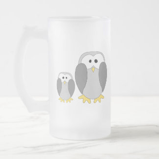 Two Cute Penguins. Cartoon. Frosted Glass Mug
