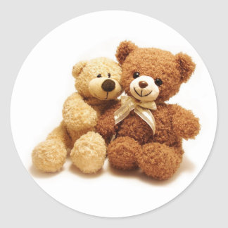 Two Cute Teddy Bears Design Round Sticker