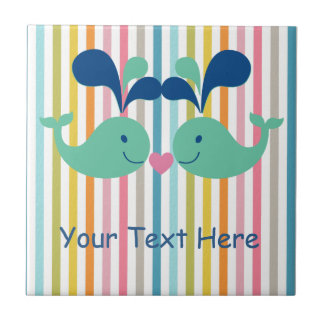 Two Cute Whales in Love Small Square Tile