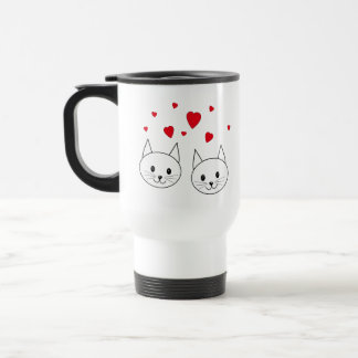 Two Cute White Cats with Red Hearts. Stainless Steel Travel Mug