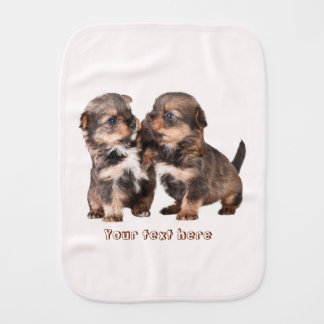 Two Cute Yorkshire Puppies Burp Cloth