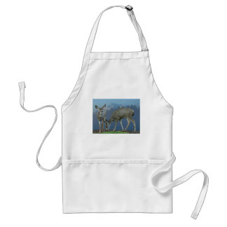 TWO DEER AND MT SHASTA #1 ADULT APRON